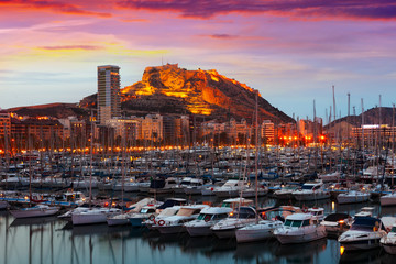 port with yachts  during sunset. Alicante