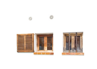 Windows shutters air vents, isolated on white, Mallorca style.