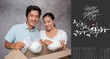 Composite image of happy couple unpacking moving boxes