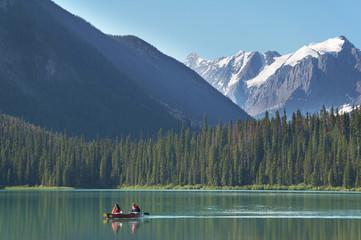 Canoeing at Emerald lake. British Columbia. Canada