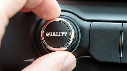 Turning on a Quality button with the word Quality in white lette