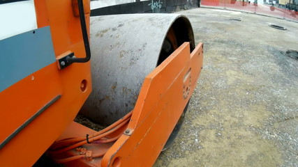 Roller Compactor at road construction site