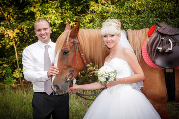 groom and the bride during walk  against a brown horse