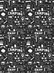 Camping elements doodles hand drawn line icon, eps10