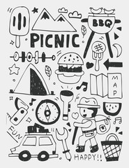 Picnic elements doodles hand drawn line icon, eps10
