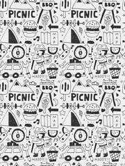 Picnic elements doodles hand drawn line icon, eps10