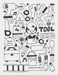 Tools elements doodles hand drawn line icon,eps10