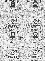 Halloween elements doodles hand drawn line icon, eps10