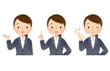 スーツを着た女性 就活 表情セット