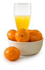 Isolated image of juice and tangerines closeup