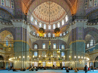 Interior of Yeni Mosque in Istanbul, Turkey