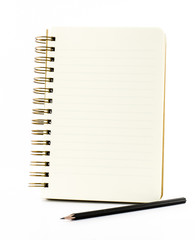 Line paper notebook with black pencil isolated on white backgrou