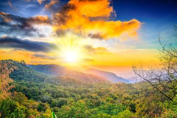 Sunrise in the Mountains full colur landscape