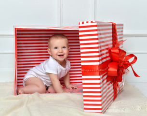 infant child baby toddler kid sitting in presents gift