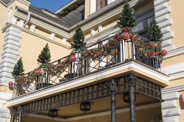Christmas decorations on the balcony (Kislovodsk, Russia)