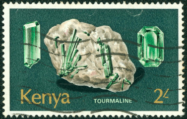 stamp printed in Kenia shows minerals Found