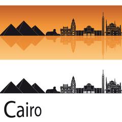 Cairo skyline in orange background