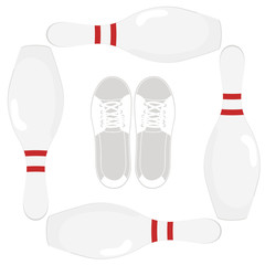 Image of elements of the game of bowling.