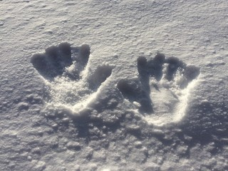 hand prints in the snow