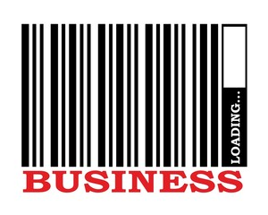 barcode with gearloading bar and business text