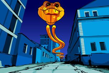 flying fiery serpent on the night street