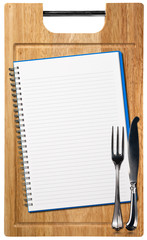 Empty Notebook on Wooden Cutting Board