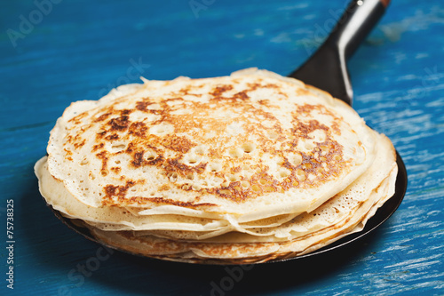 Staple of yeast pancakes, traditional for Russian pancake week - 75738325