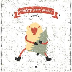 New Year and Christmas print. Funny sheep.