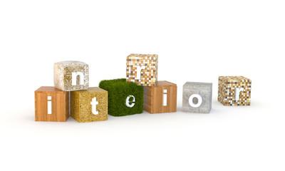 Разнообразные кубики с буквами, слагающимися в слово interior