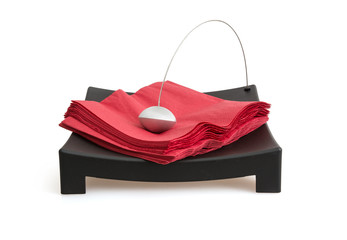 Napkin holder with paperweight