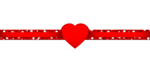 Heart Glitter Ribbon Horizontal Red