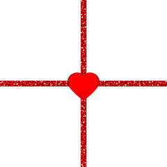 Glitter Ribbon Cross Red Heart