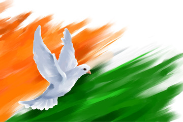 Dove flying on Indian Flag for Indian Republic Day