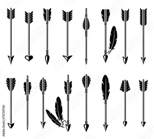 Bow arrow set. Vector - 75739700