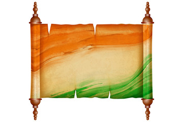 Vintage scroll with antique paper in Indian Flag