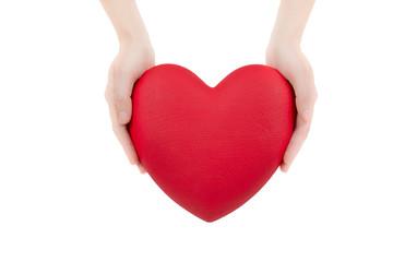 Heart between hands