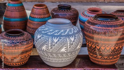 Leinwandbild Motiv Clay Pots, Santa Fe, New Mexico