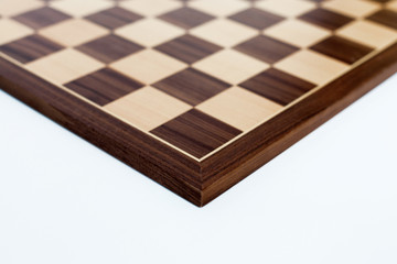 Chess board on white background