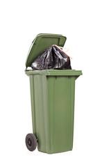 Studio shot of a big green trash can