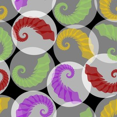 Abstract seamless background with grubs in translucent circles