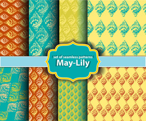 set of floral seamless patterns - may-lily