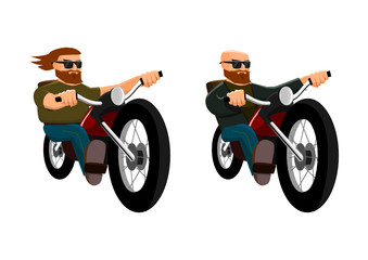 Collection of two isolated bikers