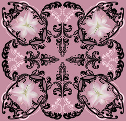 black decoration with lily flowers on pink background
