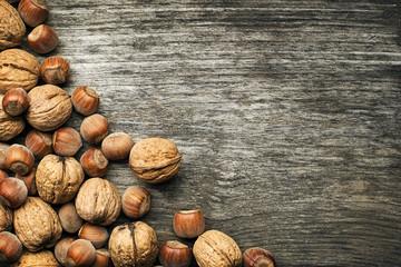 Nuts hazelnuts and walnuts