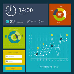 Modern colorful user interface vector layout in flat design