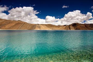 Turquoise Lake with Tibetan Mountains- Pangong Lake, India