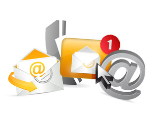orange contact us icons graphic concept