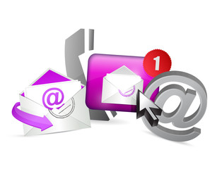 purple contact us icons graphic concept