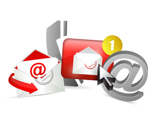 red contact us icons graphic concept