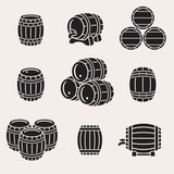 Barrels set. Vector